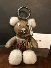 Coach Signature Teddy Bear,Leather, Key Chain Fob Bag Charm $150