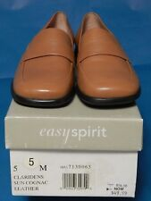 Easy Spirit Beige Leather Mule Style Slip On Flats Moccasin Shoes Loafer Sz 5