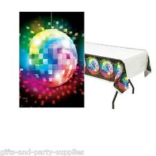 70s Disco Fever Plastic Table Cover ~ 1970s Birthday Party Supplies Decorations