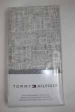 "NWT TOMMY HILFIGER White and Gray Geometric Cotton 20"" Square Napkins Set of 4"