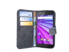 Motorola Moto G (3.Generation) // Klapp Tasche Hülle Schale Buchtasche Anthrazit