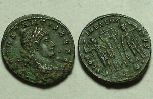 Rare Genuine ancient Roman coin Constans AD 347 Legion soldiers spears standards