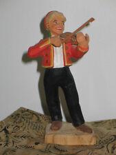 "Vintage Norwegian HENNING WOOD CARVING-6 1/2"" FIDDLER - Violin-FOLK ART - Norway"