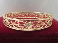Bracelet massif en filigrane coeur GF 62mm en or jaune 14 carats