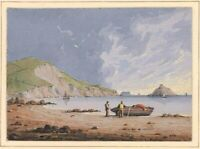 1850 French Watercolor Landscape/Body of Water w/ Provenance, Exceptional.