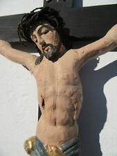 Sehr altes Kruzifix Kreuz Jesus Chistus geschnitzt und gefasst