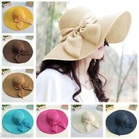 Summer Women Floppy Straw Hat Sun Beach Cap Bow Foldable Wide Brim Boheimia