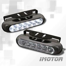7000K SLIM EURO BLACK COVER 6-LED DAYTIME RUNNING BUMPER FOG LIGHTS LAMPS
