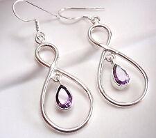 Faceted Amethyst Dangle Earrings Sterling Silver Infinity Hoop Everlasting Love