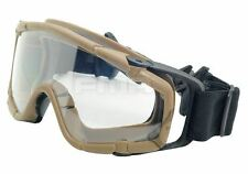 AIRSOFT PAINTBALL OPS CORE JUMP HELMET RAIL CLEAR SI GOGGLES GLASSES TAN SAND DE