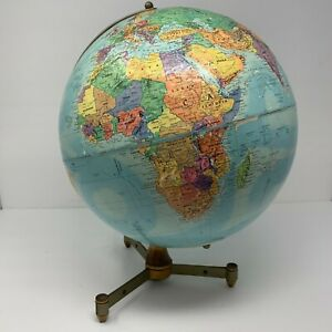 """Vintage 12"""" Replogle Stereo Relief Globe 1960s with Bullet Stand Mid Century"""