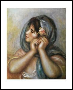Renoir Woman Arranging Earring Poster Kunstdruck im Alu Rahmen 71x56cm