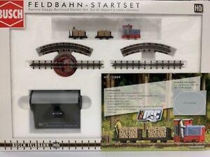 Busch Ferrovia 12009 Feldbahn Starter Set Unione Locomotiva Con Dumper # Nuovo #