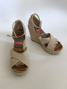Rocket Dog Natural Jute Canvas Wedge Sandal Heels SZ 10 M Strappy Ankle Braided
