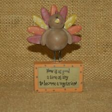 Turkey Good Time To Become Vegetarian Figurine Blossom Bucket Suzi Skoglund