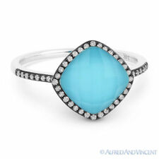 2.20 ct Turquoise & White Topaz Doublet Diamond Halo Pave Ring in 14k White Gold