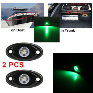 2X Green 9W  Led Rock Light Pods Trail Under Rig Lamp Offroad Truck Suv 4WD