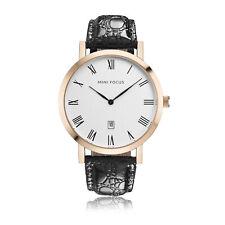 Mens Quartz Watch Rose Gold Case Leather Belt Gentlemens Choice Calendar Casual