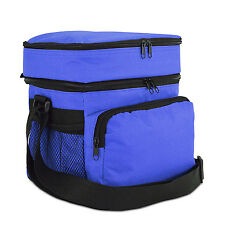 Insulated Thermal Cooler Thermos Lunch Bag Portable Travel Lunch Box Tote Blue