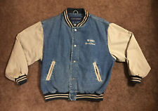 "Vintage E-ONE ""America's Fire Truck"" Logo Denim Varsity Jacket Mens Large"
