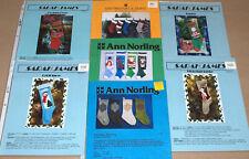 Lot - 7 Knit Christmas Stocking Patterns - Santa Snowman Reindeer Nutcracker +