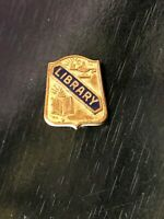 Vintage Collectible Library Colorful Metal Pinback Lapel Pin Hat Pin