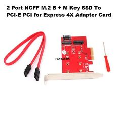 2 Port NGFF M.2 SSD to PCI-E Express Expansion Card Desktop  Converter Adapter