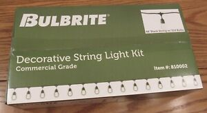 NEW Bulbrite String Light Kit indoor/outdoor 48 ft/15 bulbs commercial grade