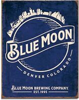 Blue Moon Metal Tin Sign Retro Vintage Look Garage Bar Shop Home Wall Decor New