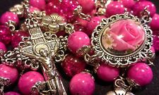 GORGEOUS DAINTY PINK  NATURAL STONE ROSARY MADE WITH 8MM FOSSIL STONE