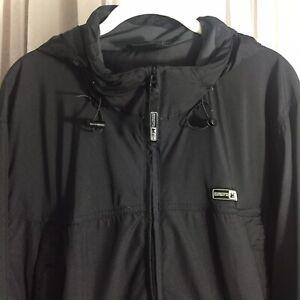 REI Unisex Nylon Pullover 1/2 Zip Jacket black L zipout hood pockets windbreaker