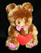 "Brown Plush Stuffed TEDDY BEAR 6"" Red Heart Feet Bow Tie Small Floral Services"