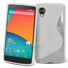 Pellicola + Custodia per Lg Google Nexus 5 D820  WAVE bianca semi-trasparente