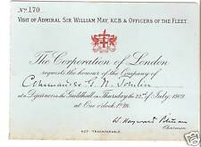 1909 Guildhall Invitation For Officers of The Fleet
