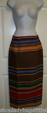 RALPH LAUREN COUNTRY SOUTHWESTERN SARAPE INDIAN BLANKET WOOL WRAP SKIRT 8 ITALY