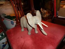 1995-signed Frager Beautiful Folk Art Hand-Carved Wooden Elephant-painted wood