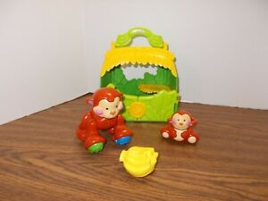 Fisher Price Amazing Animals Monkey Friends Tote Mom w/ Sound- Baby & Bananas