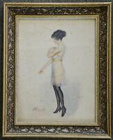 Aquarell junge Frau im Negligé, signiert P.Dupont,1920 1930, gerahmt, 44 x 35 cm