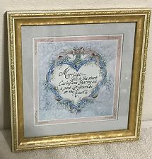 Homco Home Interiors Marriage Picture Margie Whittington Artist VGC Gold Frame