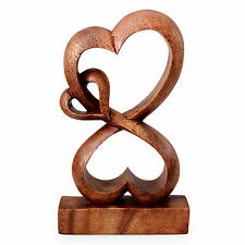Original Wood Statuette Sculpture Hand Carved 'Love Blossoms' NOVICA Bali