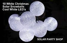 10 White Solar Fairy Light Christmas Snow Balls Cool White LEDs Wedding Lights