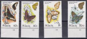 St. Lucia 1991 Farfalle 969-72 MHN