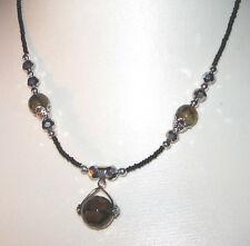 Feine Glasperlenkette mit Schliffperlen, kurze Halskette + Verlängerungskettch