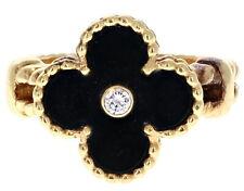 Van Cleef & Arpels 18k Yellow Gold, Black Onyx & Diamond Alhambra Ring W/ Paper