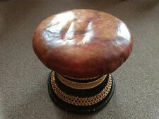 Antique/Vintage Leather Wicker Stool Conservatory VGC