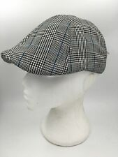 BOYS 6 PANEL BLACK WHITE BLUE CHECK FLAT CAP PEAKY BLINDERS HTC2620 BNWT