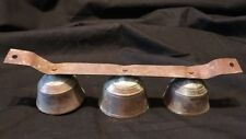 Vintage Set Of Brass Bells On Strap For Shopkeeper Or Sleigh Set Of 3