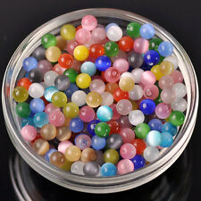 Wholesale 50pcs 6mm Cat's Eye Stone Round Crystal Glass Loose Spacer Beads Lot