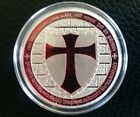 1 troy oz 100 Millls of .999 fine Silver Round Masonic Knight Templar Red Cross