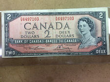 1954 Error Canada 2 Dollar Bill, Off-centered on Queen's Side,  see photo